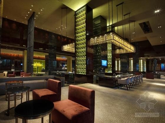 [上海]商业区豪华现代风格酒店餐厅室内装修施工图(含效果)效果图