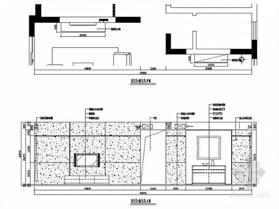 [湖南]温馨现代130平四居室室内装修施工图客餐厅立面图
