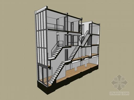 建筑剖面SketchUp模型下载