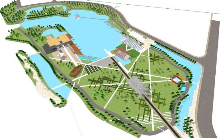 滨水模型景观规划设计(SU模型)