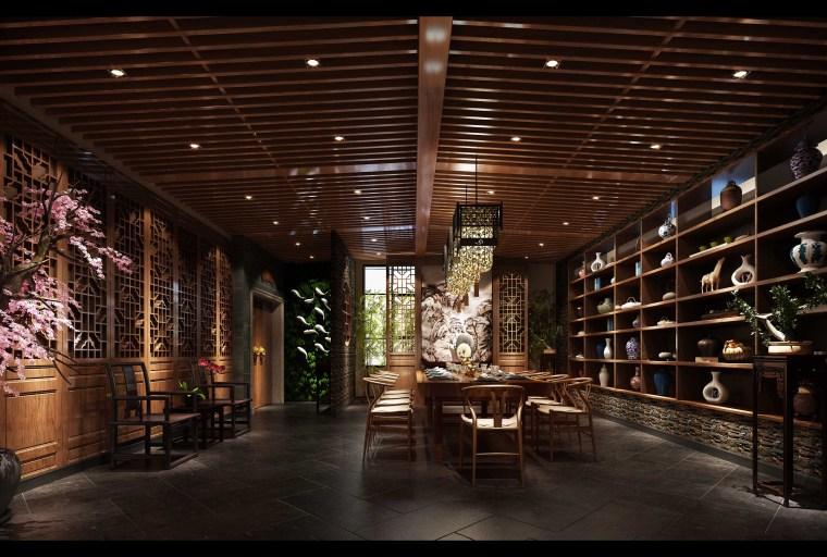 木栅格中式茶室3D模型