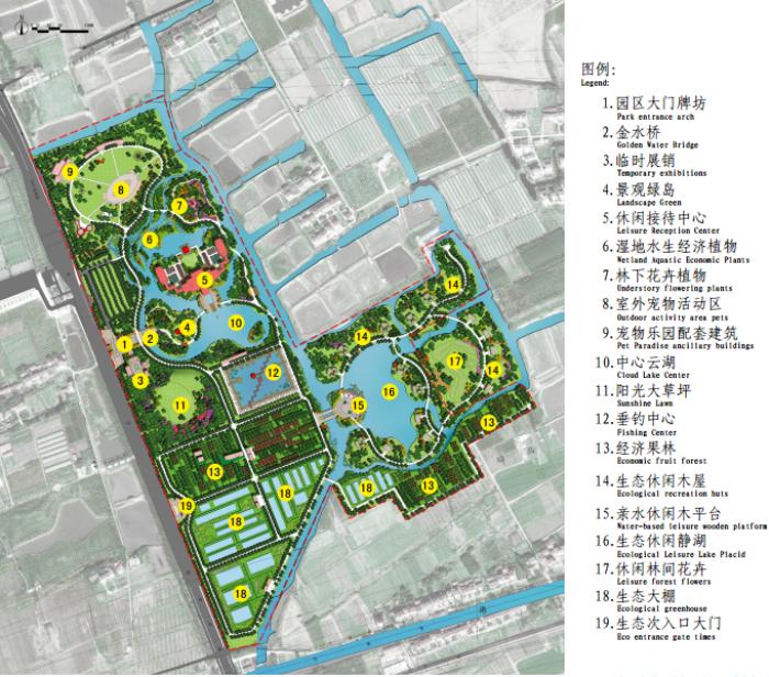 [上海]生态农业旅游庄园景观规划设计方案-总平面图
