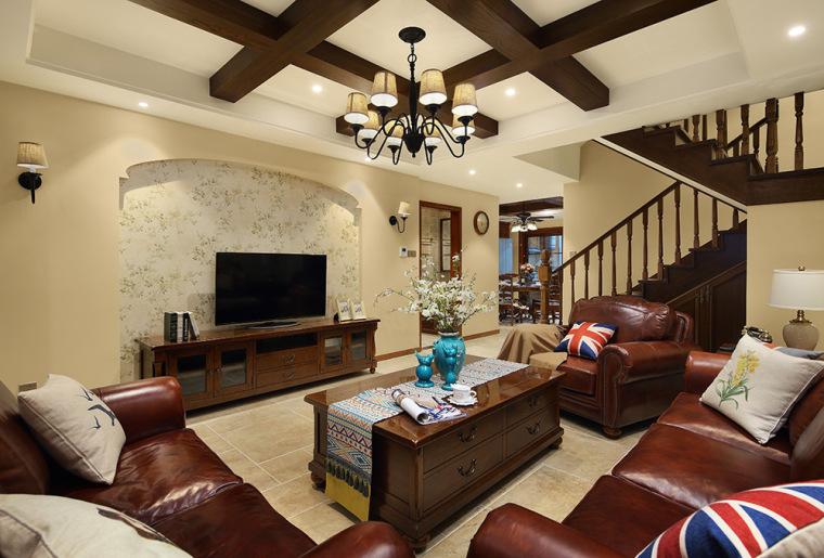 260㎡惬意美式风『合美之家』-客厅环境中力求表现悠闲、舒畅、第1张图片