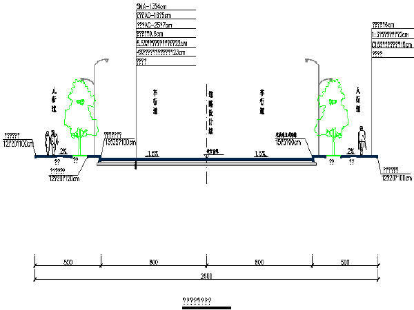 [重庆]2016年设计26m宽路幅城市次干路工程设计图129张CAD(含照明、箱涵、排水、交通)