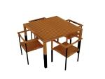 四人餐桌椅3D模型下载