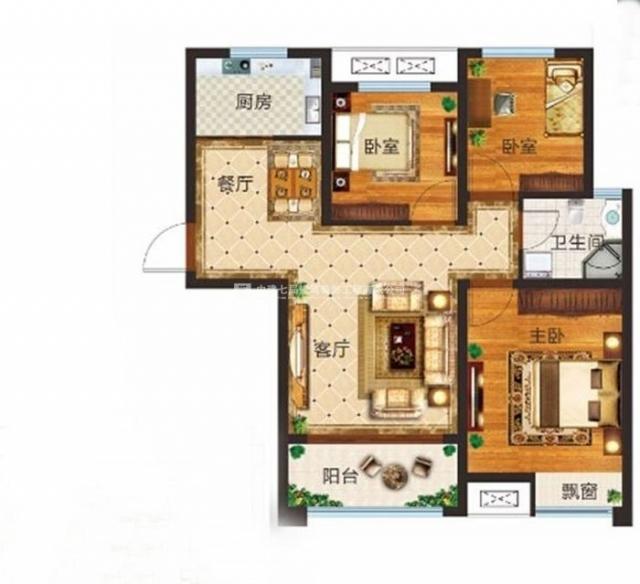 谦祥万和城89平方两室两厅现代简约效果图