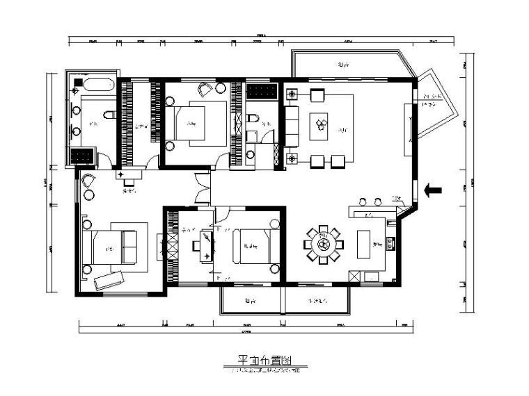 简约新中式风格样板房设计CAD施工图(含效果图)