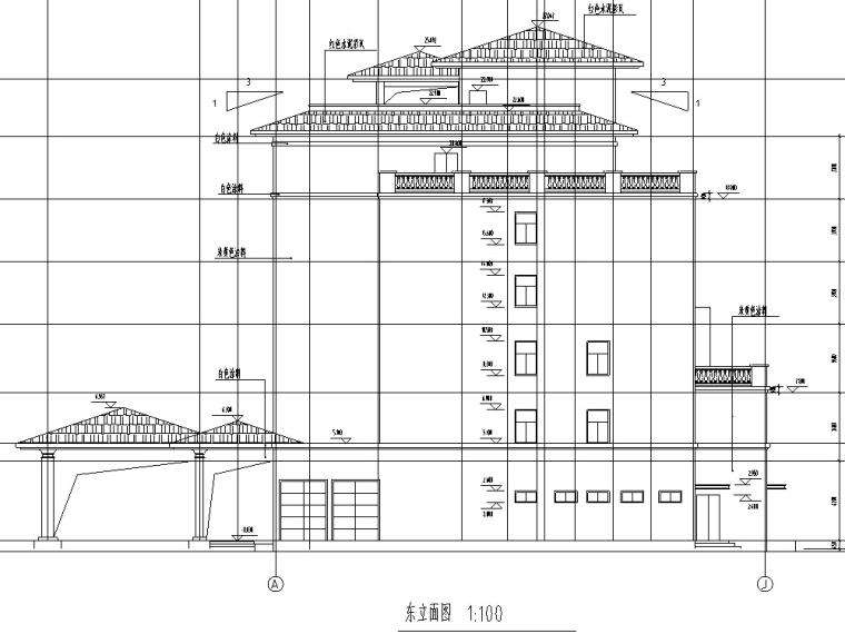 现代多层宾馆酒店建筑设计施工图CAD