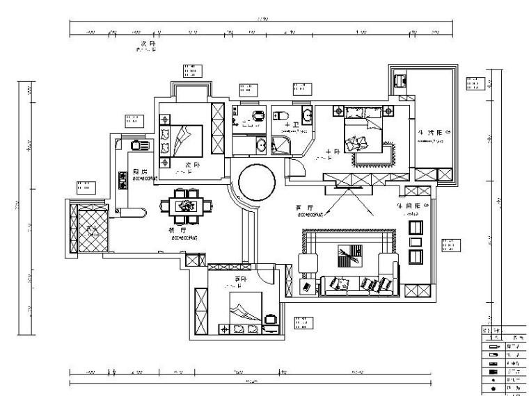 [湖南]新中式错层江景房室内设计施工图(含效果图)