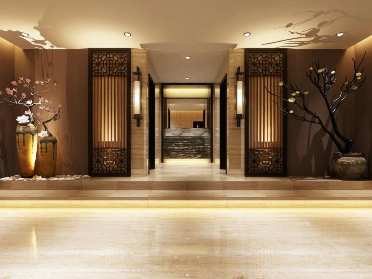 暗香高档酒店洗漱台玄关3D模型