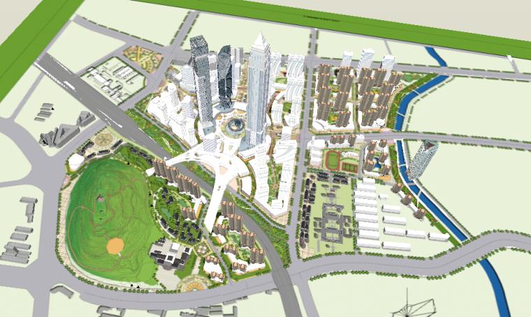 办公住宅区一体化城市设计方案sketchup模型-办公住宅区一体化城市设计1
