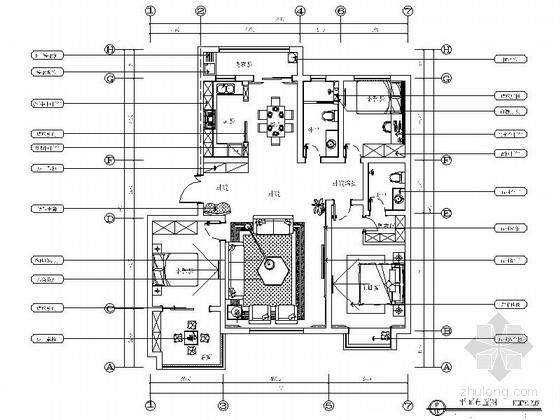 精品名师设计现代时尚三居室样板间CAD装修施工图(含软装及效果)