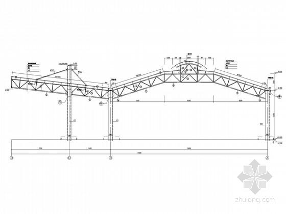 悬挑12米客运站候车厅钢结构及幕墙结构施工图