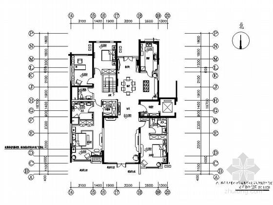 [北京]CBD高端楼盘住宅五居室装修施工图