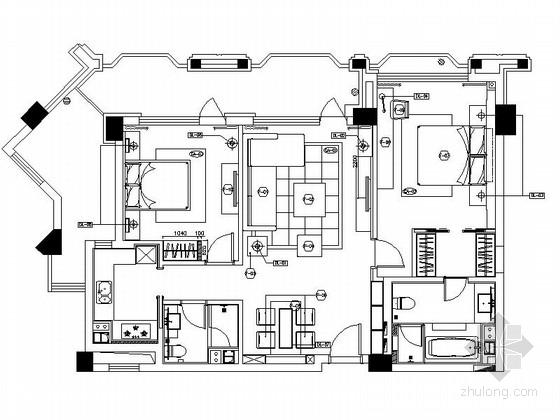 [浙江]精装两居室样板房装修设计CAD施工图(含效果)