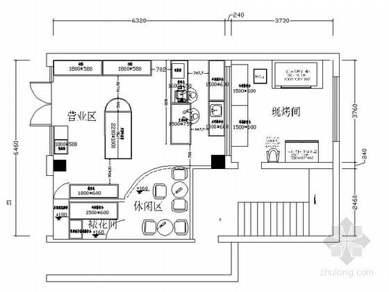 [四川]美味西饼屋面包店装修CAD施工图(含效果)