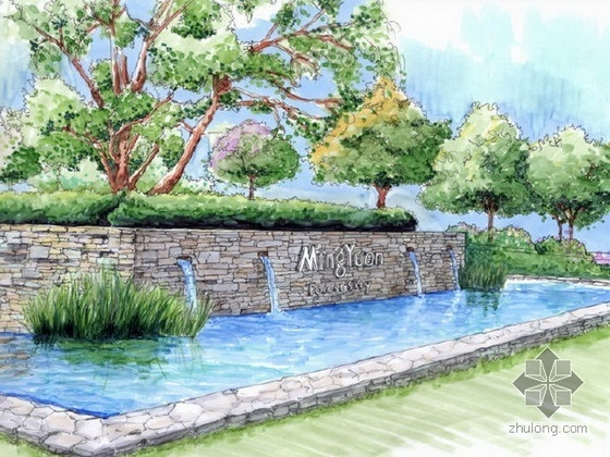 上海高档小区景观设计全套文本(手绘)