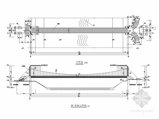 1-66m人行悬索桥设计施工图(10张 设计美观)