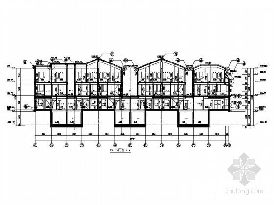 [辽宁]三层联排式别墅建筑剖面图