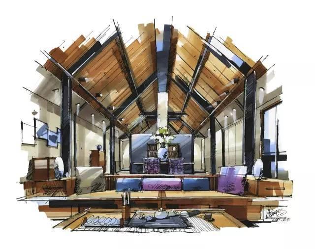 室内手绘 室内设计手绘马克笔上色快题分析图解_8