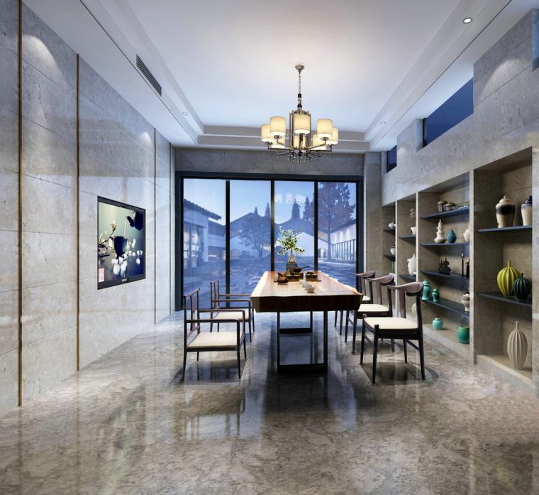 四合院蓝白调茶室3D模型