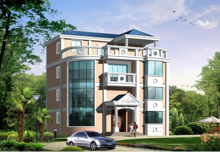 四层坡屋顶单家独院式别墅建筑设计