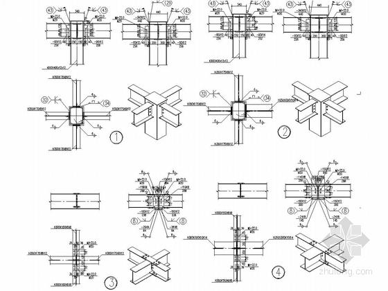 [长沙]一层框架结构加油站站房结构施工图(含建筑图钢框架罩棚)-加油罩棚节点详图