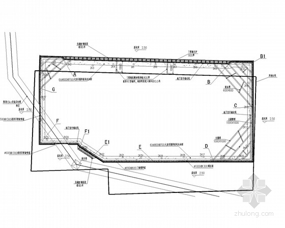 [广东]10米深基坑灌注桩结合角撑及预应力锚索支护施工图
