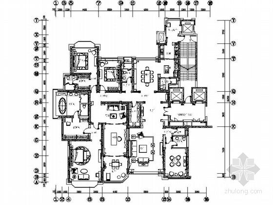 [太原]奢华古典四居室样板间室内装修图(含效果)