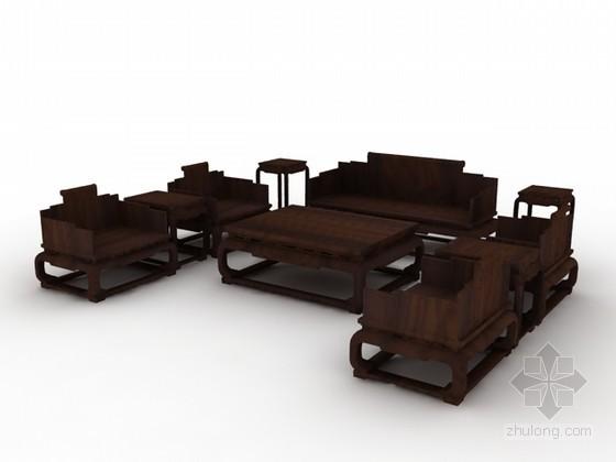 红木家具沙发茶几组合3d模型下载