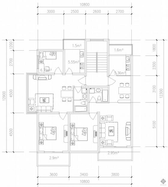 板式多层一梯两户户型图(76/68)
