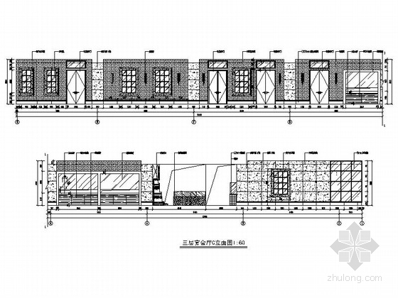 [深圳]城市中心区奢华典雅酒店设计CAD施工图(含效果)宴会厅立面图