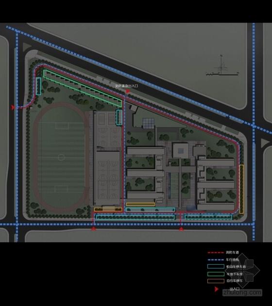 [深圳]E字布局型中学校园概念规划设计方案文本(含多媒体音频)-E字布局型中学校园概念规划分析图