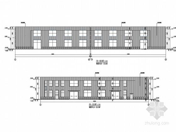 [河北]两层钢框架结构自行车厂房建筑结构施工图