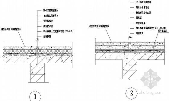 现浇混凝土屋面柔、刚性保温层分格缝构造
