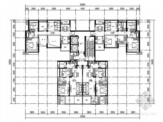 [万科户型]一核四户高层住宅户型平面图(349平方米)