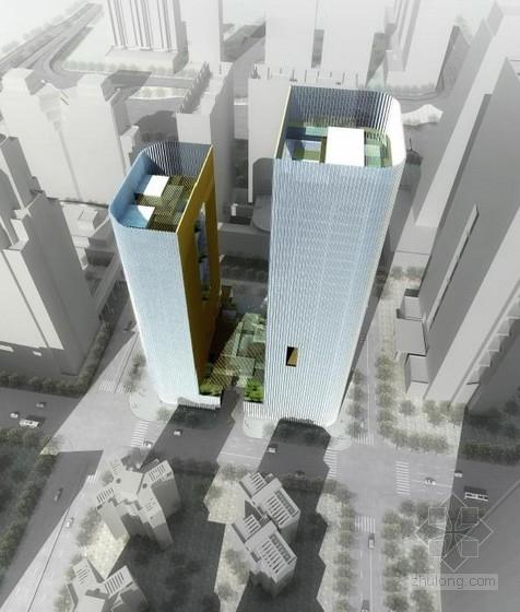 [深圳]超高层凹入式中庭开放式双子办公塔楼建筑设计方案文本
