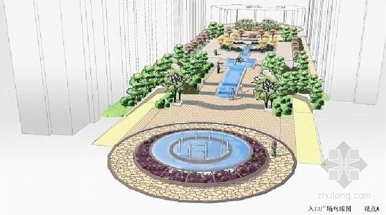 [山东]滨水小区环境景观设计方案-入口广场鸟瞰图