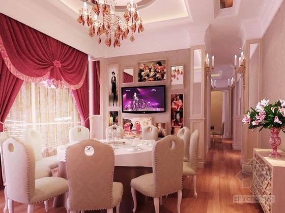 简欧餐厅包厢3d模型下载