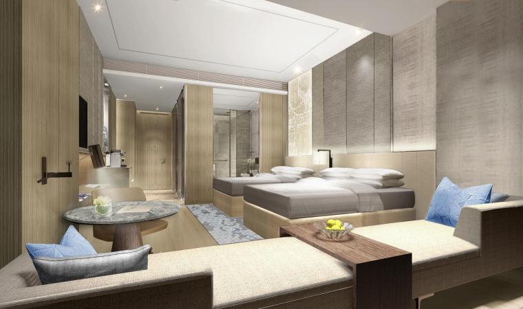 BLD-中国江阴澄星万豪酒店客房设计方案+效果图+CAD平面图