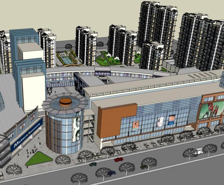 现代风格商业街概念设计模型