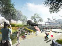 城市广场儿童区景观效果图PSD分层素材