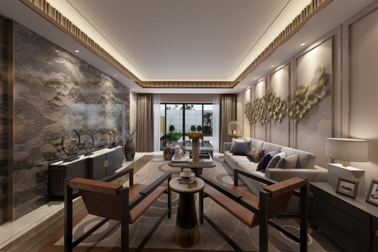 古墨印迹|新中式客厅设计3D模型(附效果图)