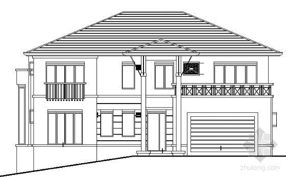 某两层坡地别墅建筑方案图