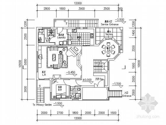 某三层独栋别墅户型图(南入口、232平方米)