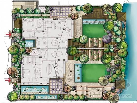 [上海]双拼别墅庭院景观设计方案(特别推荐)
