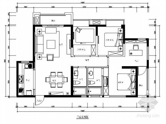 [福州]淡雅中式风格三居室样板间装修图(含实景)