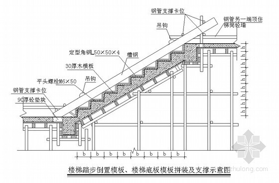[湖北]框架核心筒结构超高层写字楼施工组织设计(720页)-楼梯模板示意图