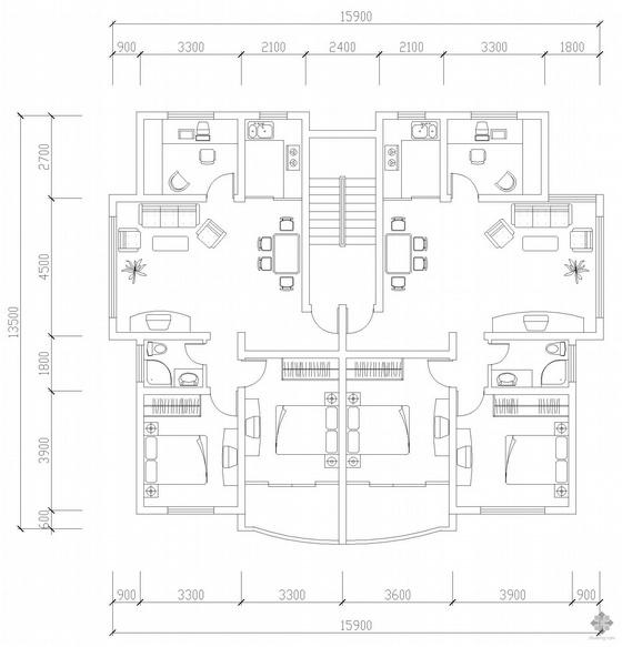 板式多层一梯二户三室二厅一卫户型图(90/92)