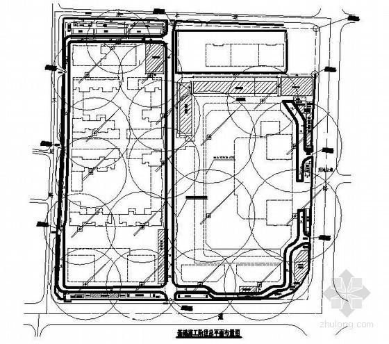商业广场施工平面布置图(基础、主体、装修)